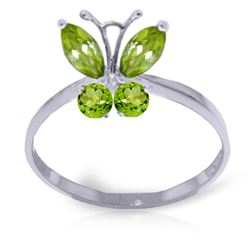 ALARRI 0.6 CTW 14K Solid White Gold Butterfly Ring Natural Peridot