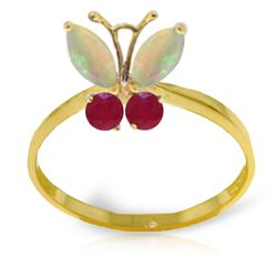 ALARRI 0.7 CTW 14K Solid Gold Butterfly Ring Opal Ruby