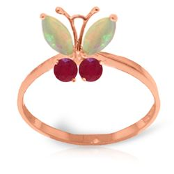 ALARRI 0.7 CTW 14K Solid Rose Gold Butterfly Ring Opal Ruby