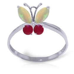 ALARRI 0.7 CTW 14K Solid White Gold Butterfly Ring Opal Ruby