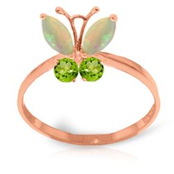 ALARRI 0.7 CTW 14K Solid Rose Gold Butterfly Ring Opal Peridot