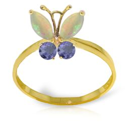 ALARRI 0.7 Carat 14K Solid Gold Butterfly Ring Opal Tanzanite