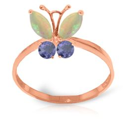ALARRI 0.7 CTW 14K Solid Rose Gold Butterfly Ring Opal Tanzanite