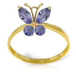 ALARRI 0.6 Carat 14K Solid Gold Butterfly Ring Natural Tanzanite