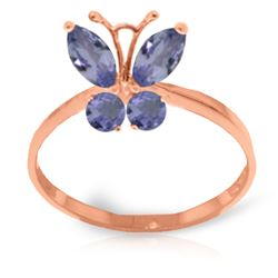 ALARRI 0.6 CTW 14K Solid Rose Gold Butterfly Ring Natural Tanzanite
