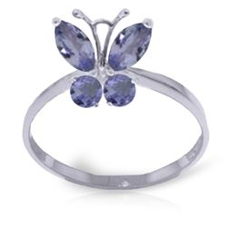 ALARRI 0.6 Carat 14K Solid White Gold Butterfly Ring Natural Tanzanite