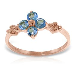 ALARRI 14K Solid Rose Gold Ring w/ Natural Blue Topaz
