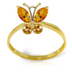 ALARRI 0.6 Carat 14K Solid Gold Butterfly Ring Natural Citrine