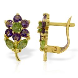 ALARRI 2.12 Carat 14K Solid Gold Flowers Stud Earrings Amethyst Peridot