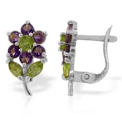 ALARRI 2.12 Carat 14K Solid White Gold Flowers Stud Earrings Amethyst Peridot