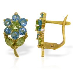 ALARRI 2.12 CTW 14K Solid Gold Flowers Stud Earrings Blue Topaz Peridot