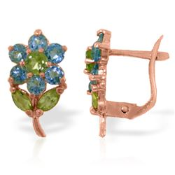 ALARRI 2.12 Carat 14K Solid Rose Gold Flowers Stud Earrings Blue Topaz Peridot