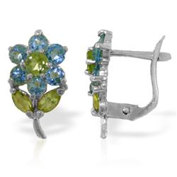 ALARRI 2.12 CTW 14K Solid White Gold Flowers Stud Earrings Blue Topaz Peridot