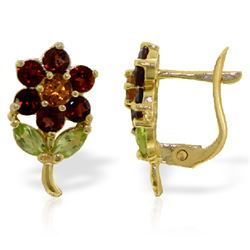 ALARRI 2.12 Carat 14K Solid Gold Flower Stud Earrings Garnet, Citrine Peridot