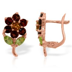 ALARRI 2.12 CTW 14K Solid Rose Gold Flower Stud Earrings Garnet, Citrine Peridot