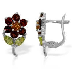 ALARRI 2.12 Carat 14K Solid White Gold Flower Stud Earrings Garnet, Citrine P