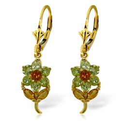 ALARRI 2.12 CTW 14K Solid Gold Flowers Earrings Peridot Citrine