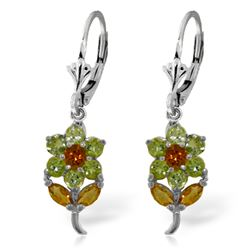 ALARRI 2.12 CTW 14K Solid White Gold Flowers Earrings Peridot Citrine