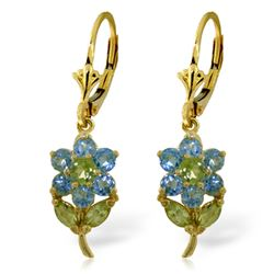 ALARRI 2.12 CTW 14K Solid Gold Flowers Earrings Blue Topaz Peridot