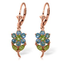 ALARRI 2.12 Carat 14K Solid Rose Gold Flowers Earrings Blue Topaz Peridot