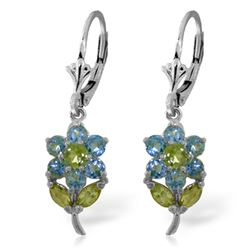 ALARRI 2.12 Carat 14K Solid White Gold Flowers Earrings Blue Topaz Peridot