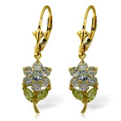 ALARRI 2.12 Carat 14K Solid Gold Flowers Earrings Aquamarine Peridot