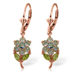 ALARRI 2.12 Carat 14K Solid Rose Gold Flowers Earrings Aquamarine Peridot