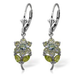ALARRI 2.12 Carat 14K Solid White Gold Flowers Earrings Aquamarine Peridot