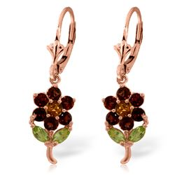 ALARRI 2.12 Carat 14K Solid Rose Gold Flowers Earrings Garnet, Citrine Peridot