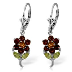 ALARRI 2.12 Carat 14K Solid White Gold Flowers Earrings Garnet, Citrine Peridot