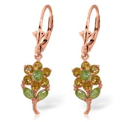 ALARRI 2.12 CTW 14K Solid Rose Gold Flowers Earrings Citrine Peridot