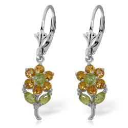ALARRI 2.12 Carat 14K Solid White Gold Flowers Earrings Citrine Peridot