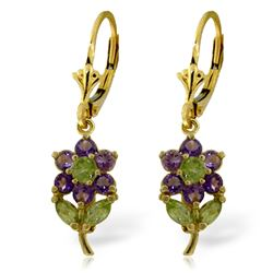 ALARRI 2.12 Carat 14K Solid Gold Flowers Earrings Amethyst Peridot