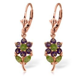 ALARRI 2.12 Carat 14K Solid Rose Gold Flowers Earrings Amethyst Peridot