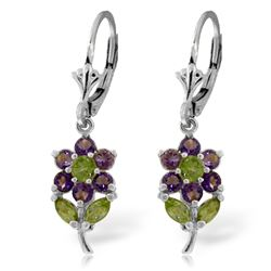 ALARRI 2.12 Carat 14K Solid White Gold Flowers Earrings Amethyst Peridot