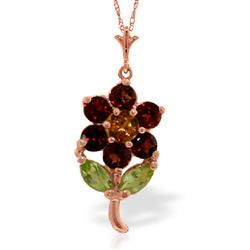 ALARRI 1.06 CTW 14K Solid Rose Gold Flower Necklace Garnet, Citrine Peridot