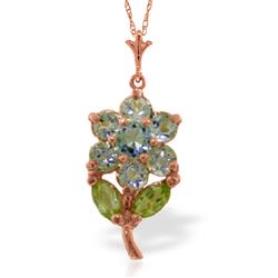 ALARRI 1.06 CTW 14K Solid Rose Gold Flower Necklace Aquamarine Peridot
