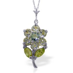 ALARRI 1.06 Carat 14K Solid White Gold Flower Necklace Aquamarine Peridot