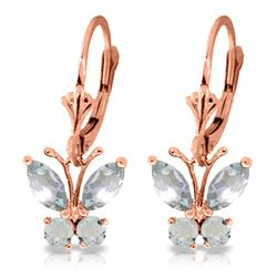 ALARRI 1.24 CTW 14K Solid Rose Gold Butterfly Earrings Natural Aquamarine