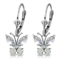 ALARRI 1.24 Carat 14K Solid White Gold Butterfly Earrings Natural Aquamarine