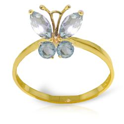 ALARRI 0.6 Carat 14K Solid Gold Butterfly Ring Natural Aquamarine