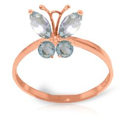 ALARRI 0.6 CTW 14K Solid Rose Gold Butterfly Ring Natural Aquamarine