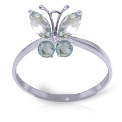 ALARRI 0.6 CTW 14K Solid White Gold Butterfly Ring Natural Aquamarine