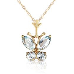 ALARRI 0.6 Carat 14K Solid Gold Butterfly Necklace Aquamarine