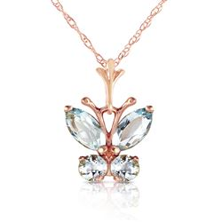 ALARRI 0.6 Carat 14K Solid Rose Gold Butterfly Necklace Aquamarine