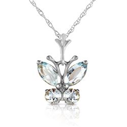ALARRI 0.6 CTW 14K Solid White Gold Butterfly Necklace Aquamarine