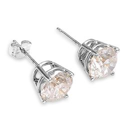 ALARRI 1 Carat 14K Solid White Gold Stud Earrings 1.0 Carat Natural Diamond