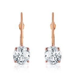 ALARRI 1 Carat 14K Solid Rose Gold Leverback Earrings 1.0 Carat Diamond