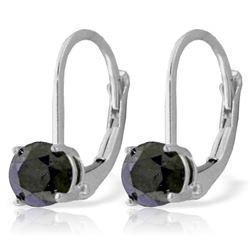 ALARRI 1 CTW 14K Solid White Gold Leverback Earrings 1.0 Carat Black Diamond