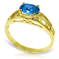 ALARRI 1.15 CTW 14K Solid Gold Filigree Ring Natural Blue Topaz